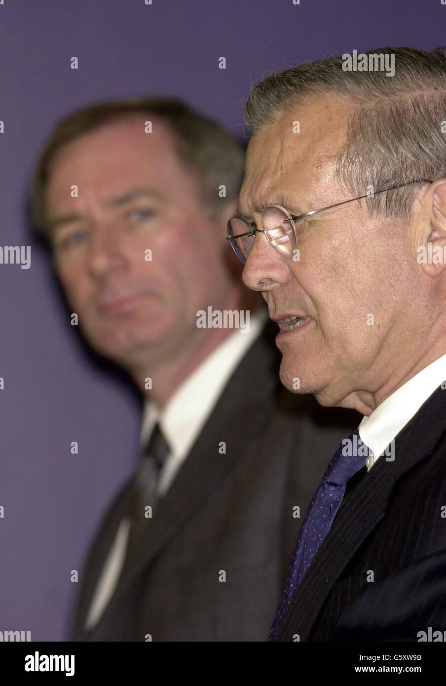 Donald Rumsfeld press conference - Stock Image