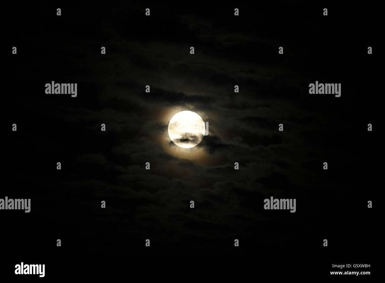 Full moon, darkness, night time, June 2016 - Stock Image