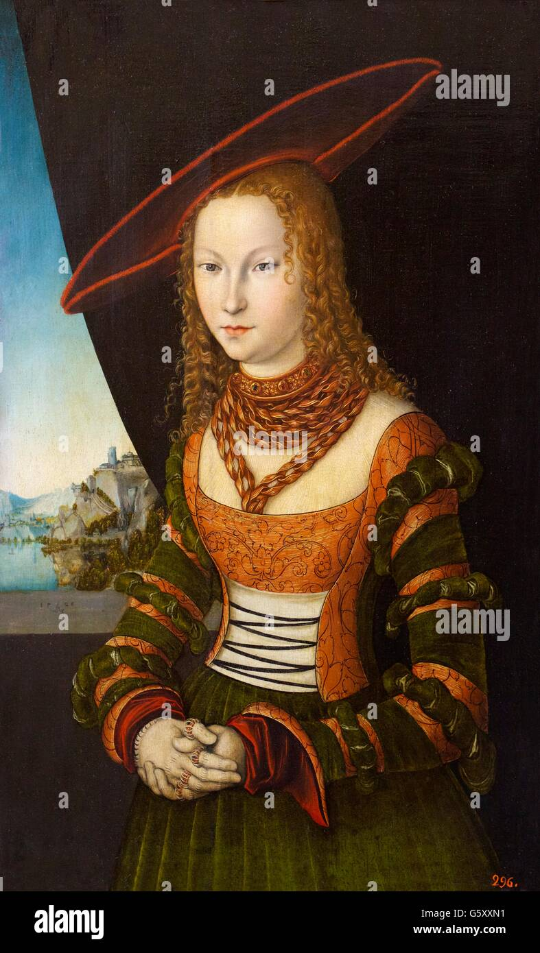 Portrait of a Woman, Lucas Cranach the Elder, 1526,  Hermitage State Museum, Saint Petersburg, Russia - Stock Image