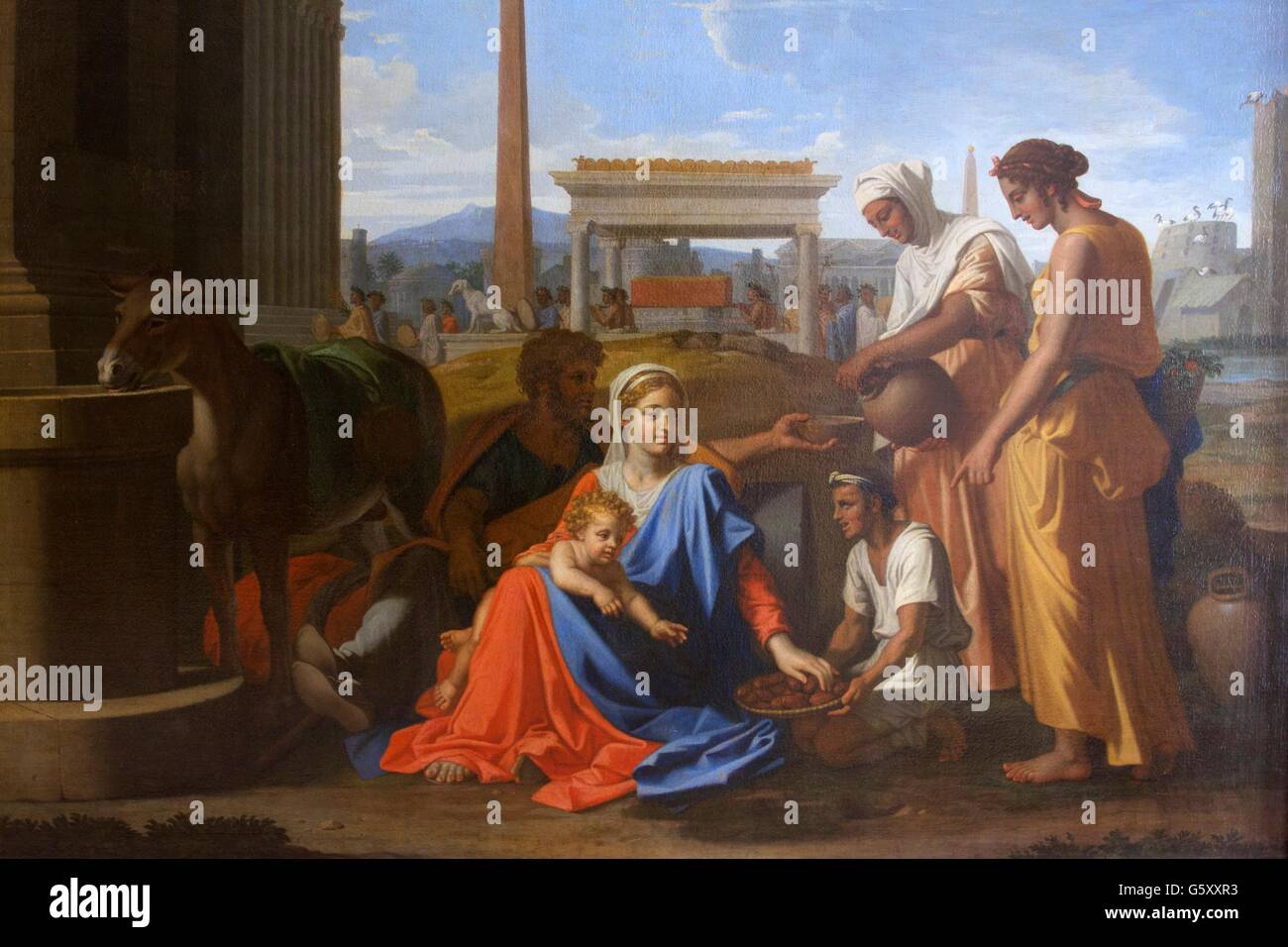 Holy Family in Egypt, Nicolas Poussin, 1657,  Hermitage State Museum, Saint Petersburg, Russia - Stock Image