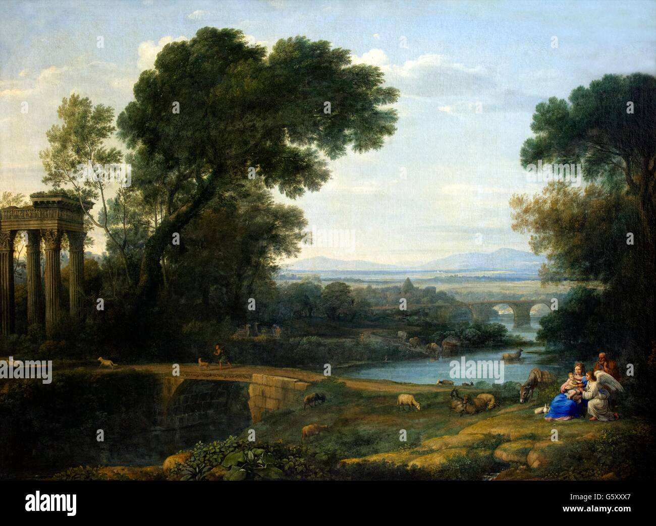Landscape with Rest on the Flight into Egypt, Claude Lorrain,  Hermitage State Museum, Saint Petersburg, Russia4 - Stock Image