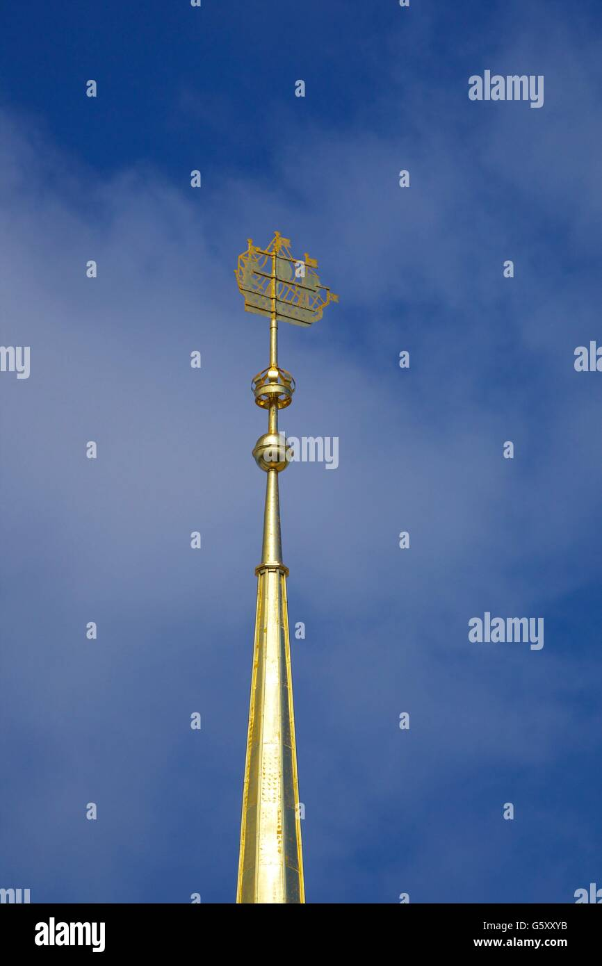Bronze frigate on top of the Admiralty Spire, Saint Petersburg, Russia - Stock Image