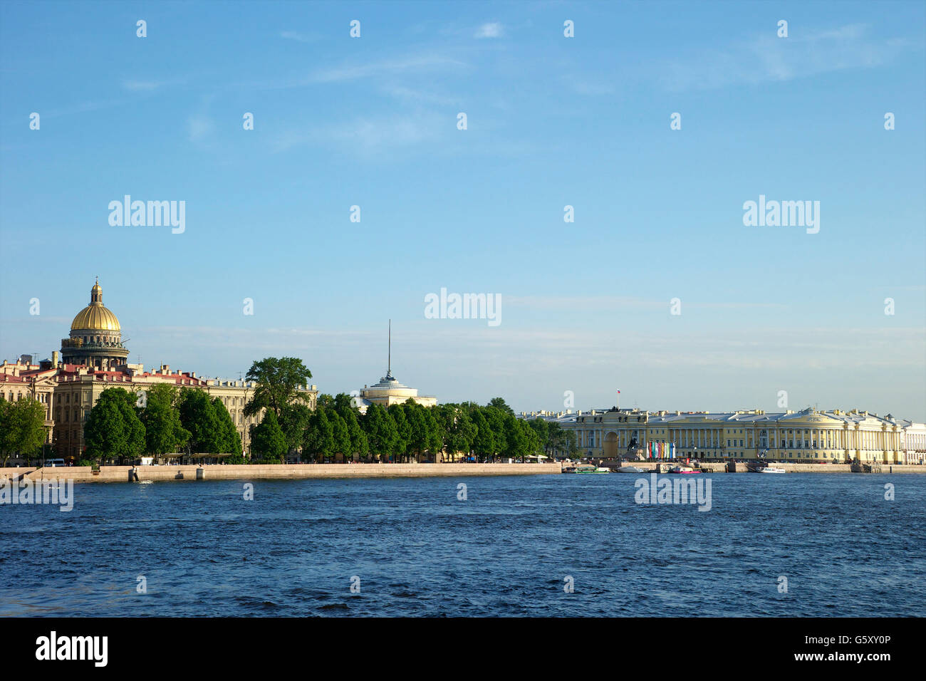 River Neva with St Isaac's Cathedral and the Admiralty, Saint Petersburg, Russia - Stock Image