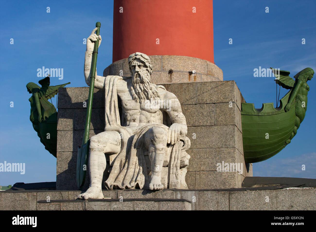 Pedestal of Rostral Column,  Strelka of Vasilievsky Island, Saint Petersburg, Russia - Stock Image