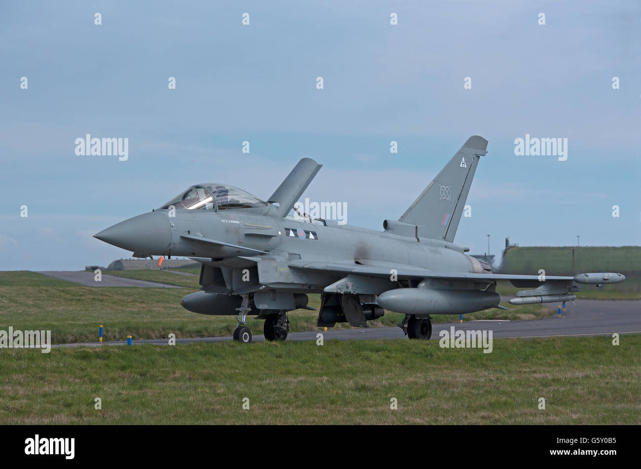 Eurofighter FGR4 ZK300 Tail Fin Serial (H) showing air brake deployed at RAF Lossiemouth. SCO 10,558. - Stock Image