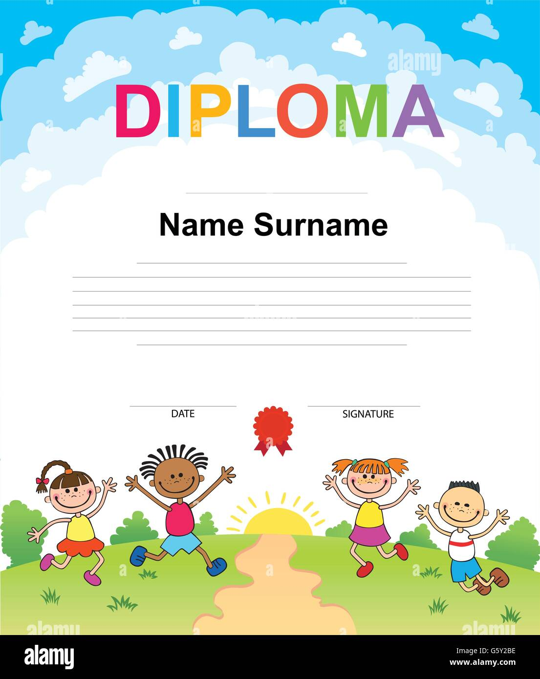 Kids Diploma certificate background design template Stock ...