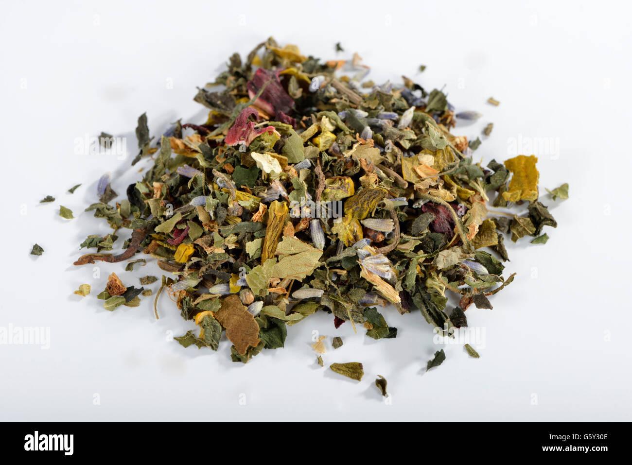 Cardiovascular tea, Mistletoe, valerian, common lavender, hawthorn herb, nettle, hibiscus / (Viscum album), (Crataegus - Stock Image