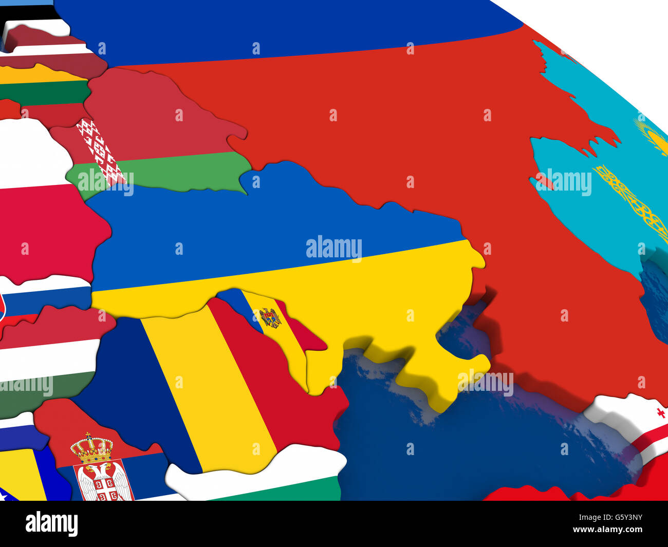 Map of Ukraine with embedded flags on 3D political map. Accurate ...
