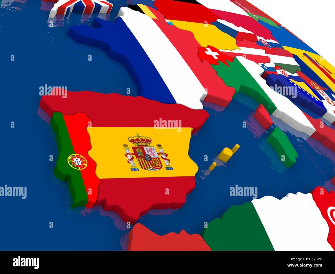 Map of Spain and Portugal with embedded flags on 3D political map ...