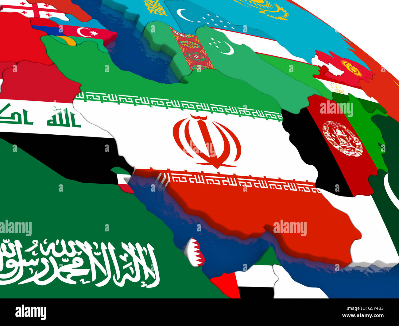 Map of Iran with embedded flags on 3D political map. Accurate Stock ...