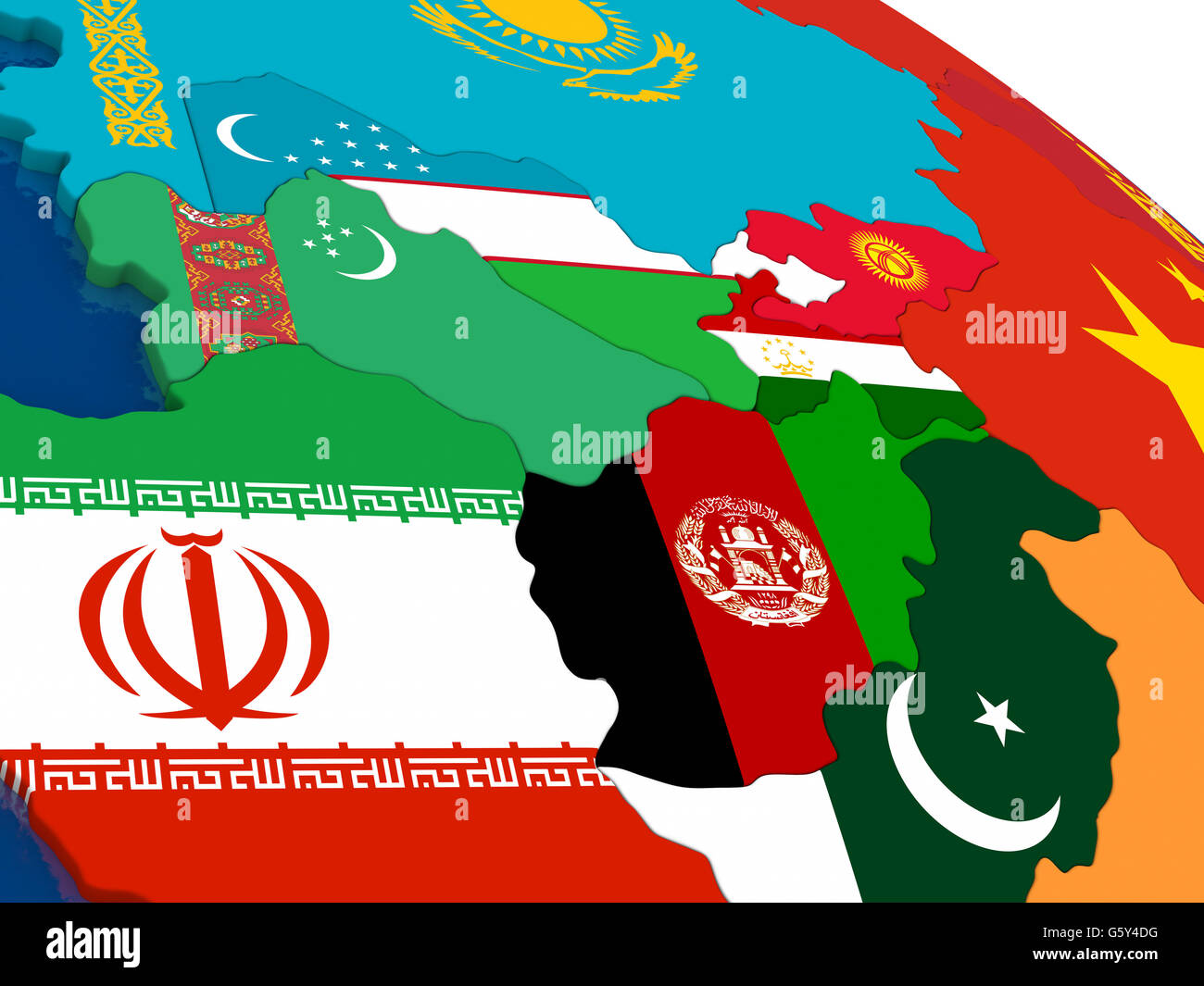 Map of Central Asia with embedded flags on 3D political map ...