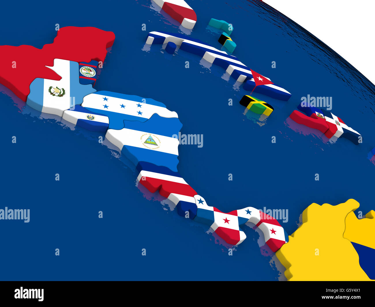 Map of Central America with embedded flags on 3D political ...