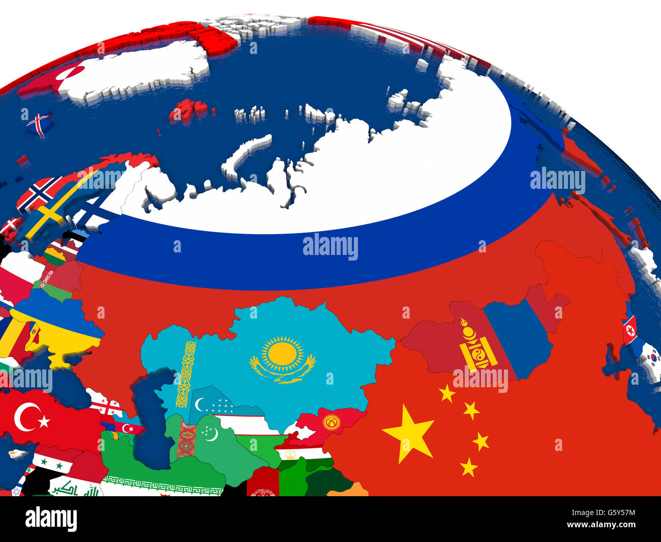Map of Russia with embedded flags on 3D political map. Accurate ...