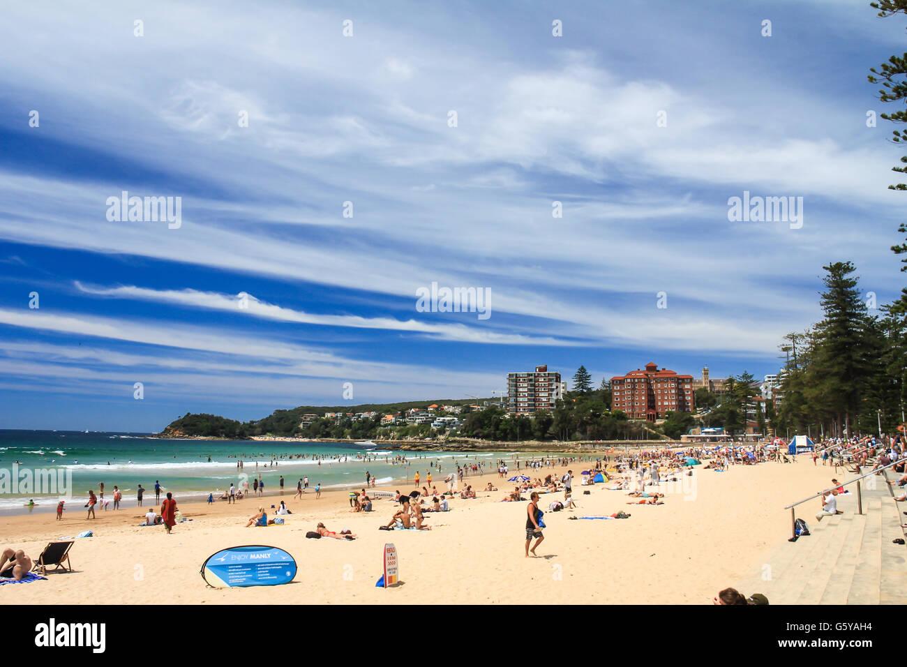 Summer in Manly Beach Sydney Australia - Stock Image