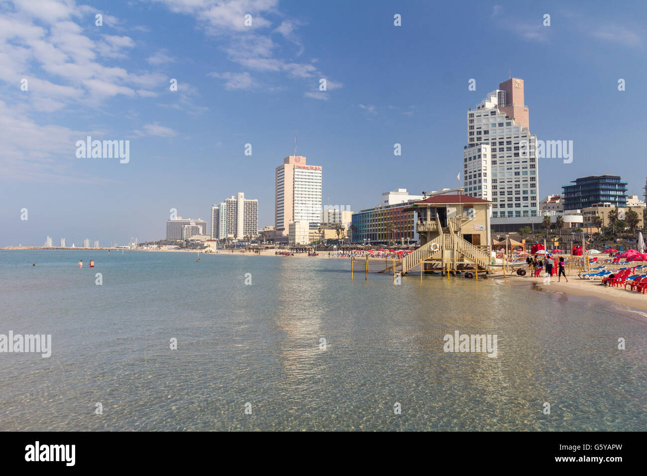 View of Tel Aviv beach front - Stock Image