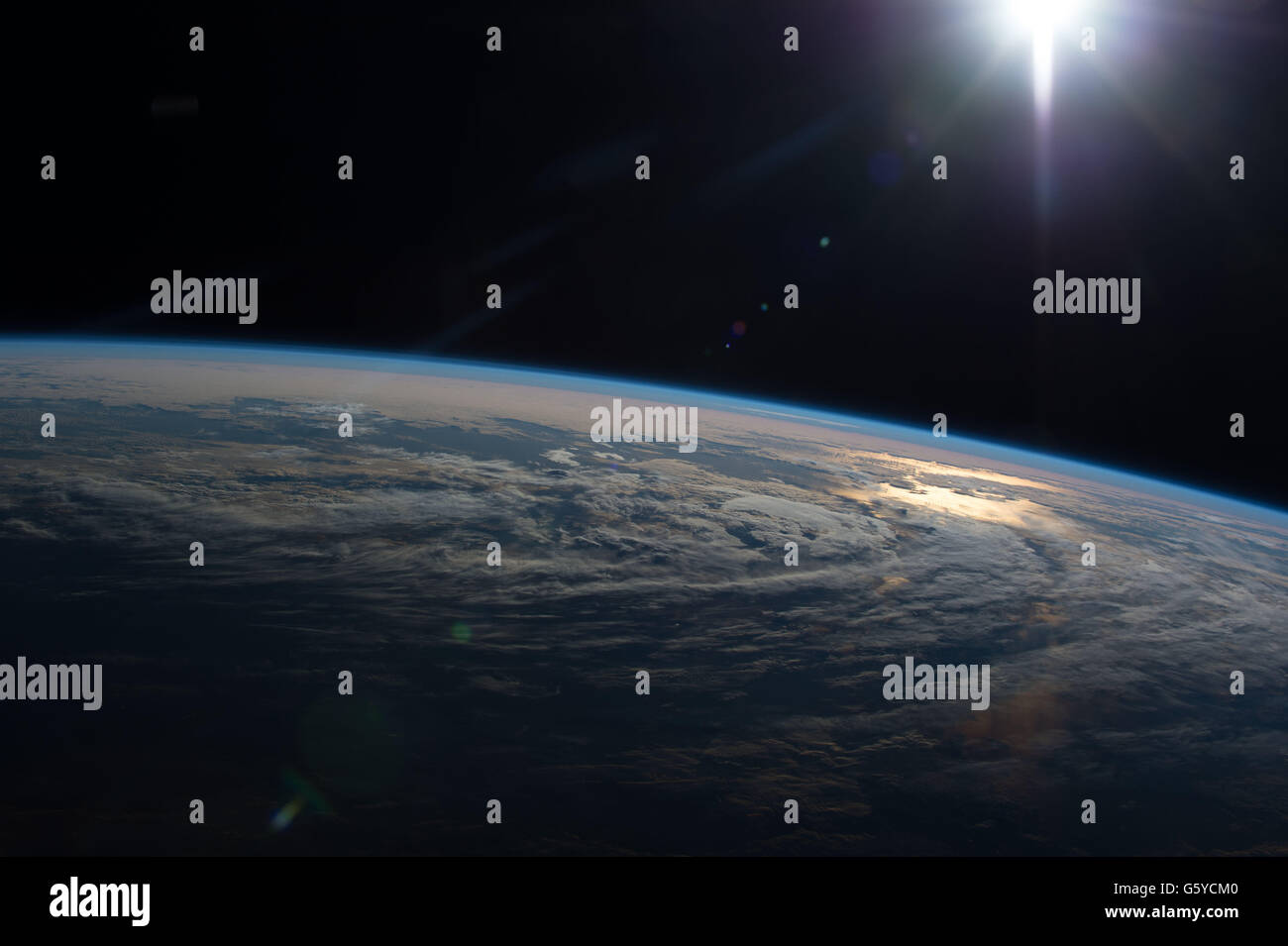 International Space Station Earth observation image captured by Expedition 47 members showing the sun reflecting - Stock Image