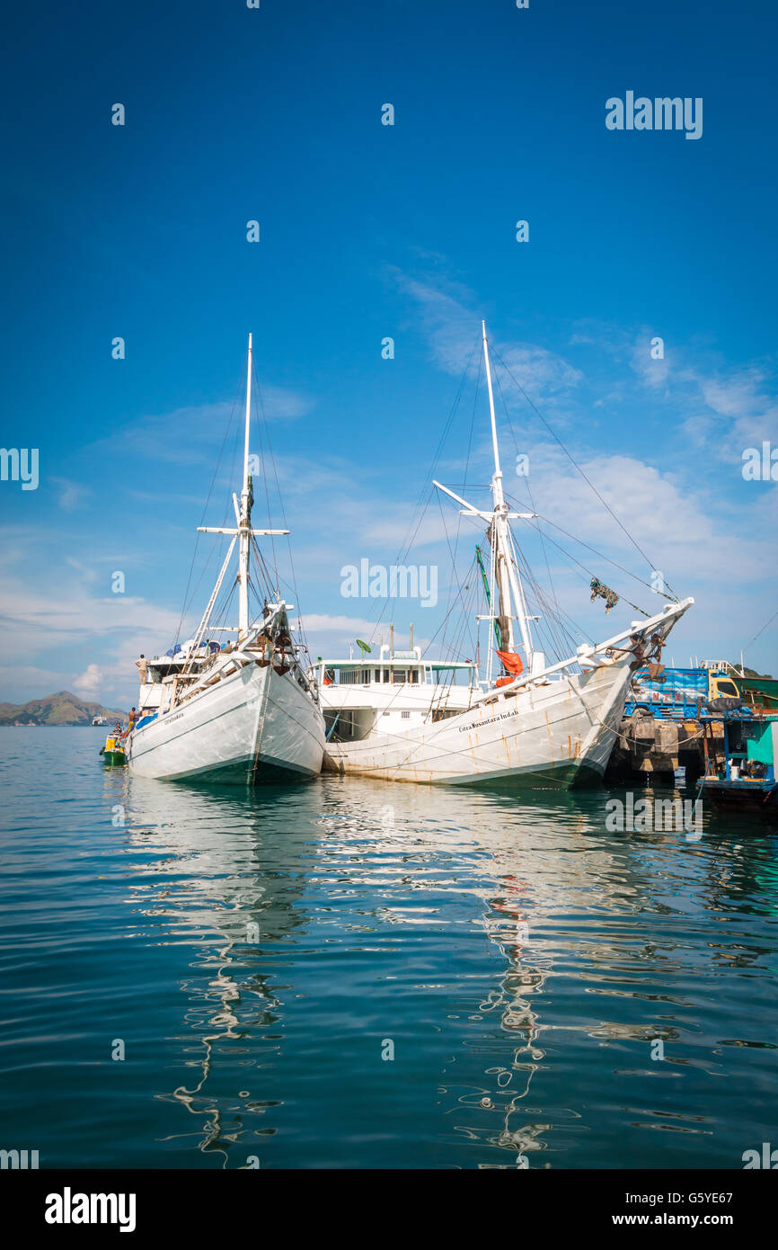 Boats in Labuan Bajo in Flores Indonesia - Stock Image