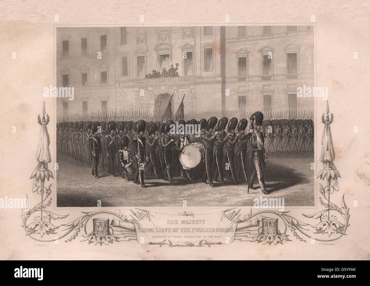CRIMEAN WAR: Queen Victoria taking leave of the Fusilier guards, print 1860 - Stock Image