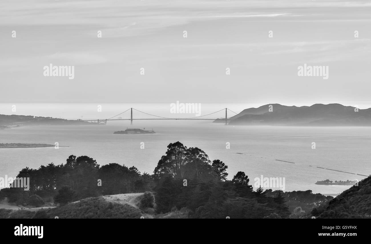 The Golden Gate Bridge of San Francisco from Berkeley Hills - Stock Image