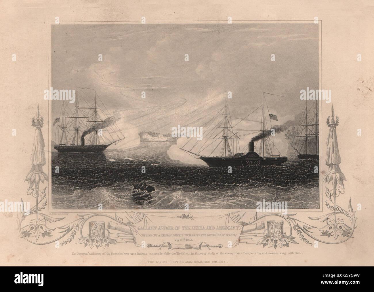 Antique Print 1854 FINLAND HMS Arrogant /& HMS Hecla Attacking Eckness