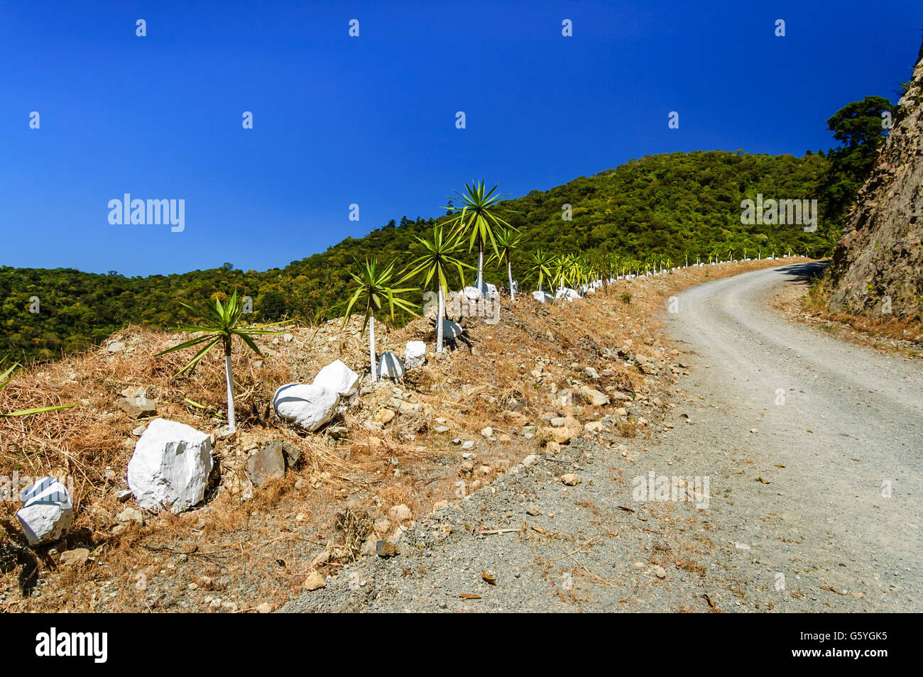 Winding dirt road, in highlands of Guatemala - Stock Image
