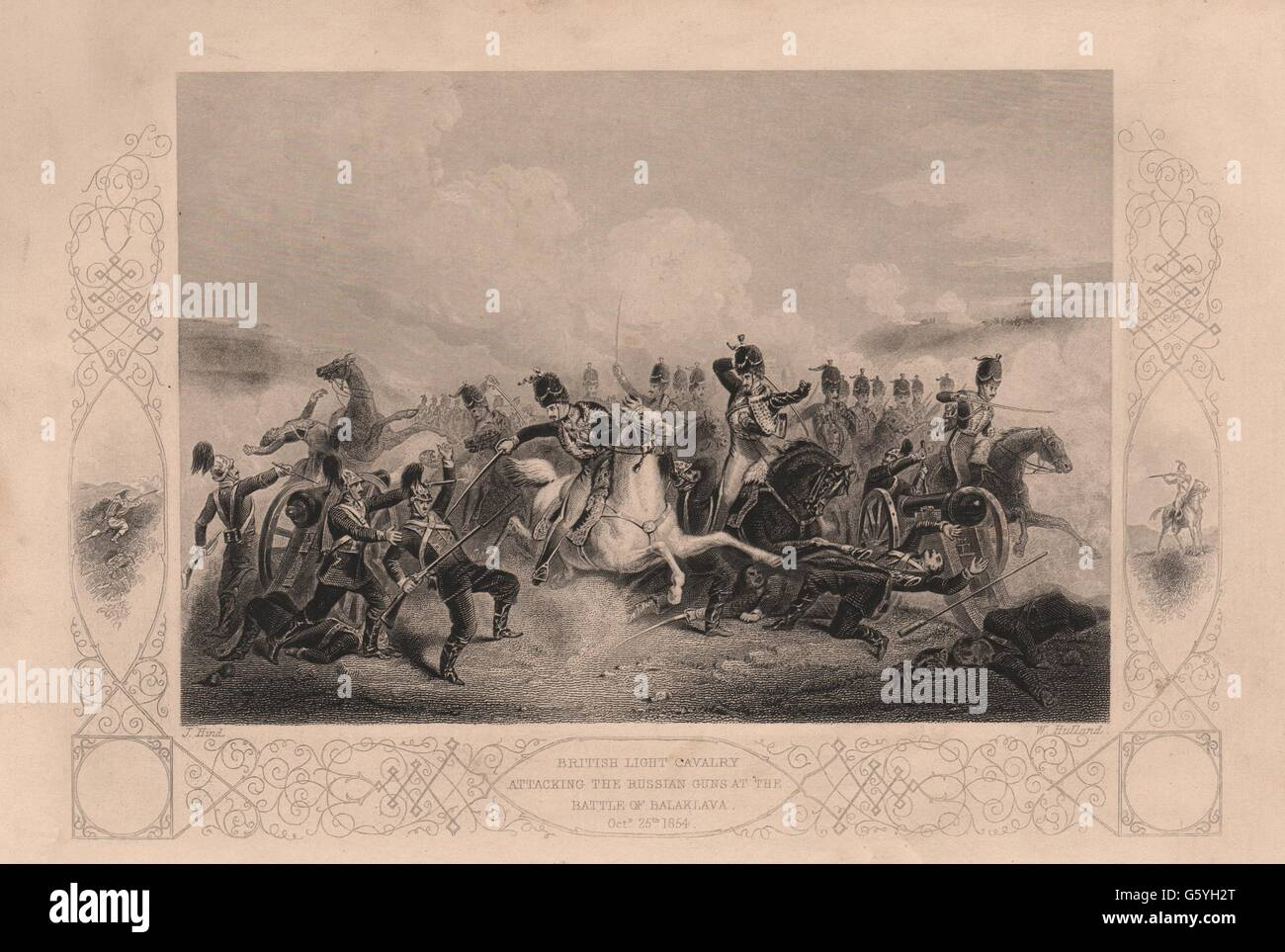 CHARGE OF THE LIGHT BRIGADE: Cavalry attacking Russians. Battle Balaklava, 1860 - Stock Image