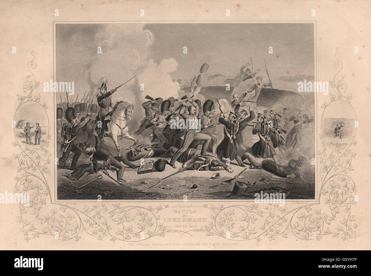 CRIMEAN WAR: Battle of Inkerman Nov. 5 1854, antique print 1860 - Stock Image