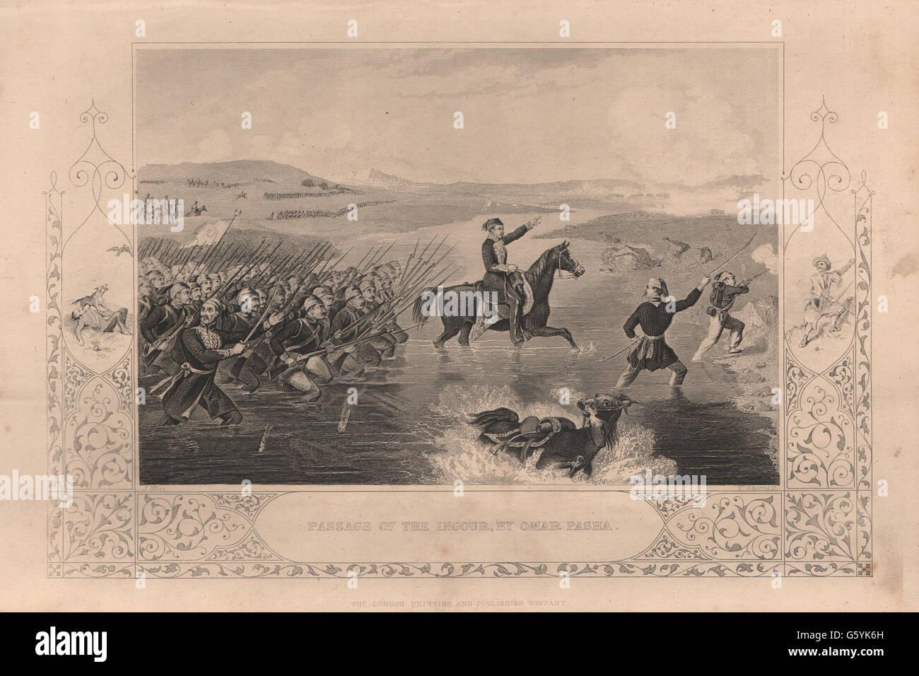 CRIMEAN WAR: Passage of the Ingour (Inguri) by Omar Pasha. Georgia, print 1860 - Stock Image