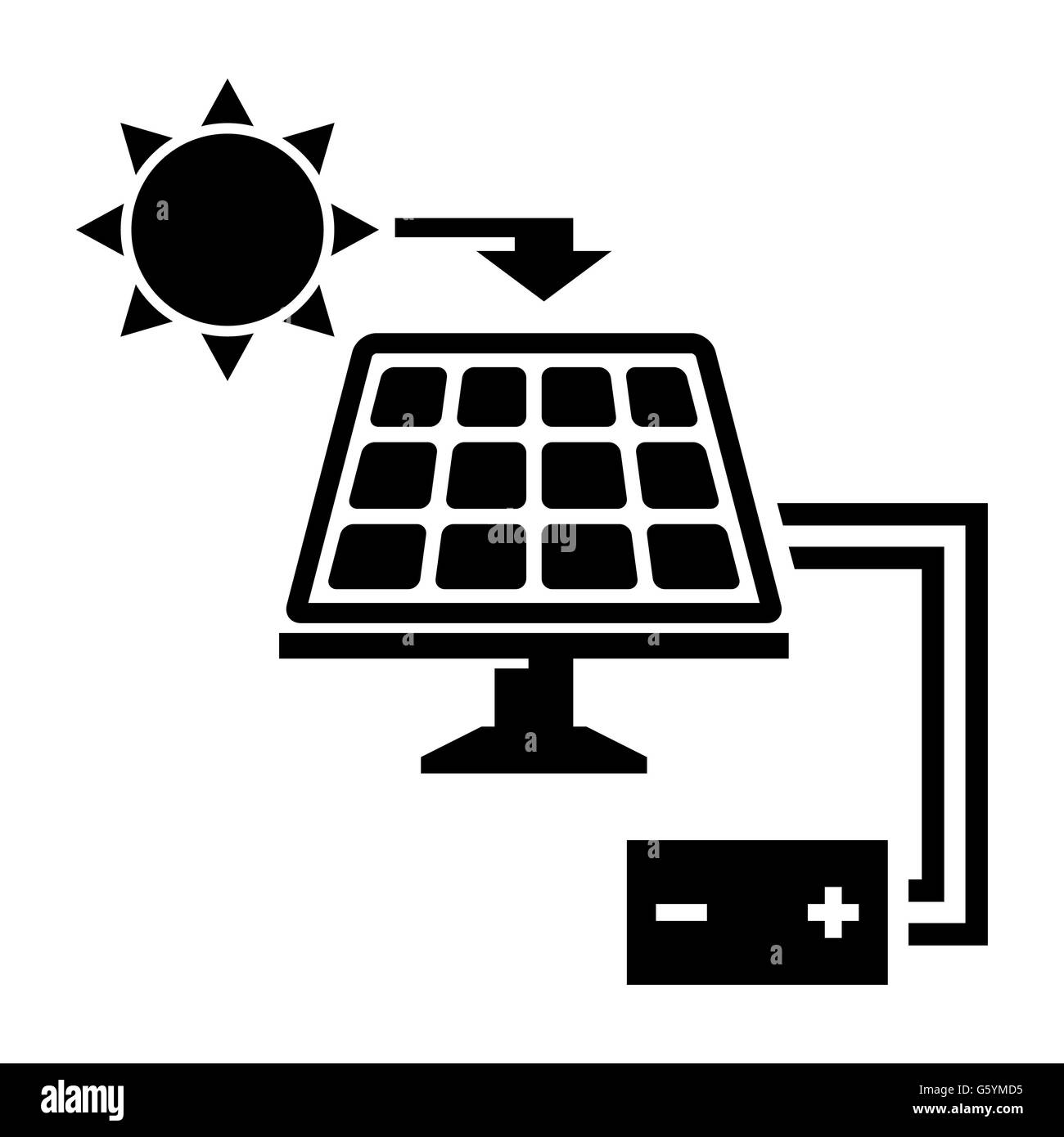 Vector black solar panel icon - Stock Image