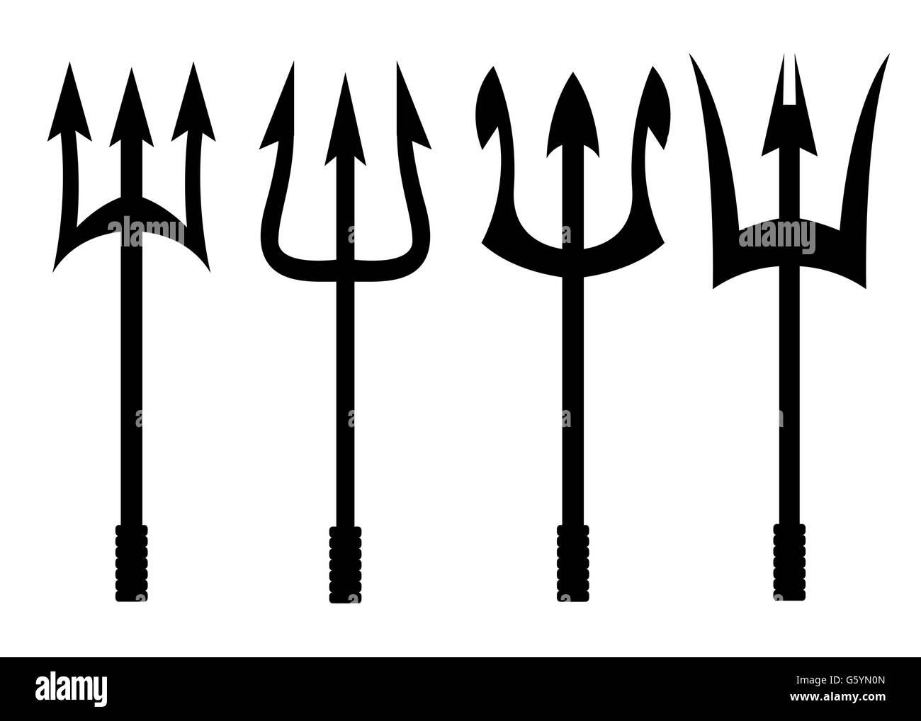 Vector black trident icons set - Stock Image