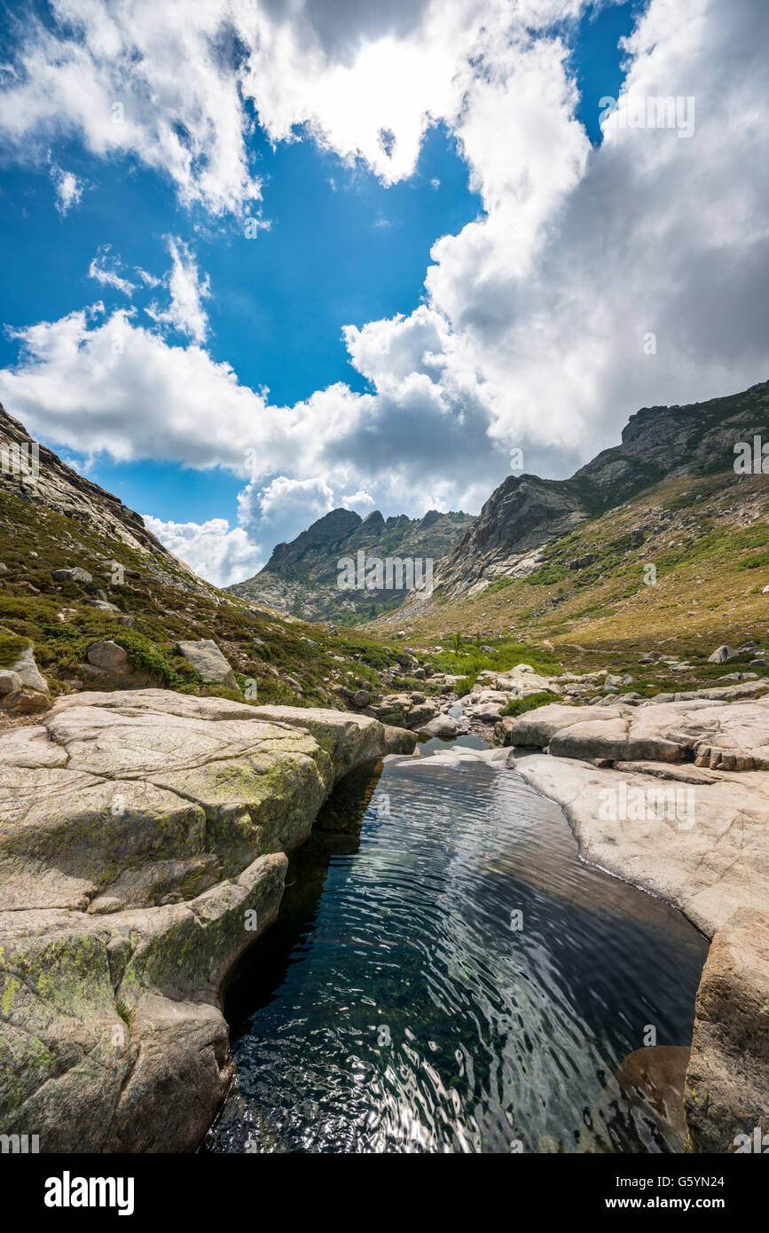 Pool in the mountains, river Golo, Nature Park of Corsica, Parc naturel régional de Corse, Corsica, France - Stock Image