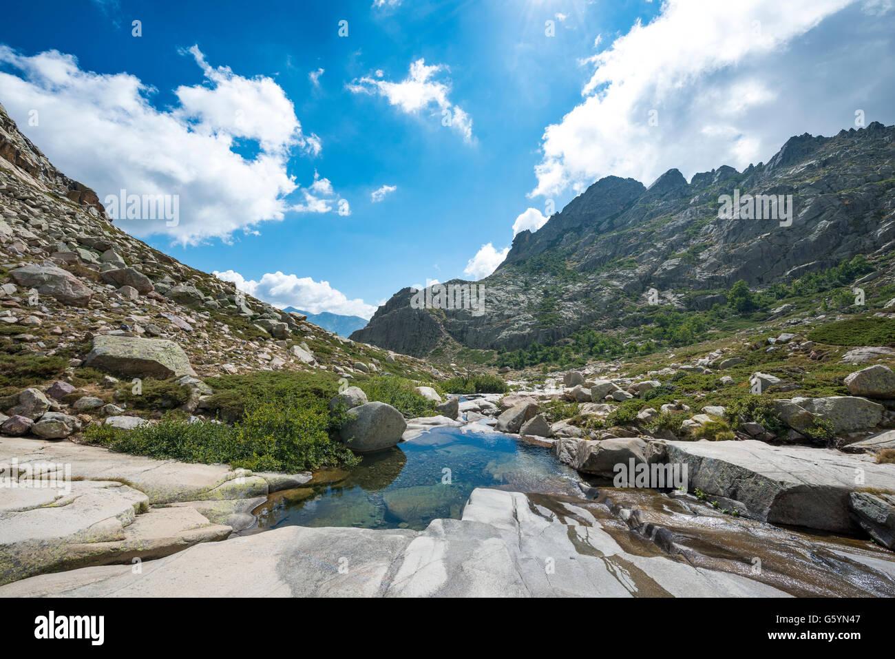Pool in the mountains, river Golo, Nature Park of Corsica, Parc naturel régional de Corse, Corsica, France Stock Photo
