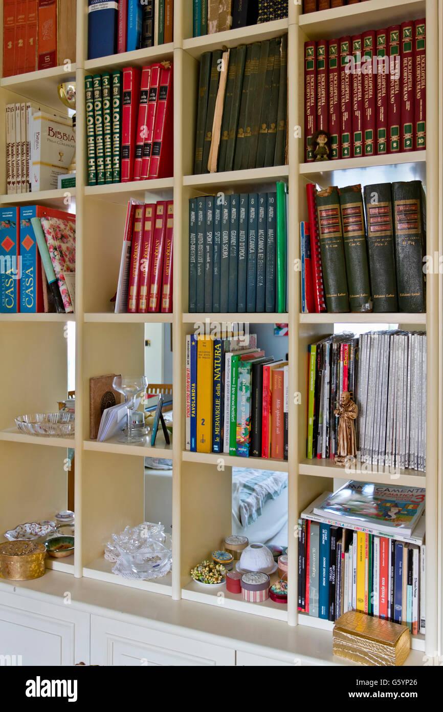 Book shelves, Italian books - Stock Image