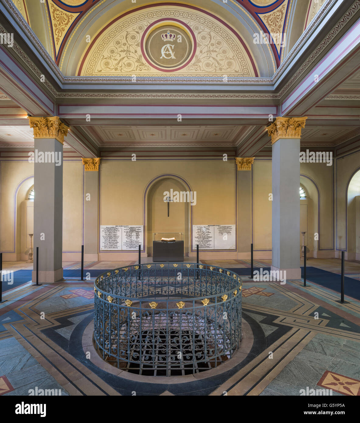 Hall of royal crypt, Fürstengruft, 1825, Classicism, historical cemetery, Weimar, Thuringia, Germany - Stock Image