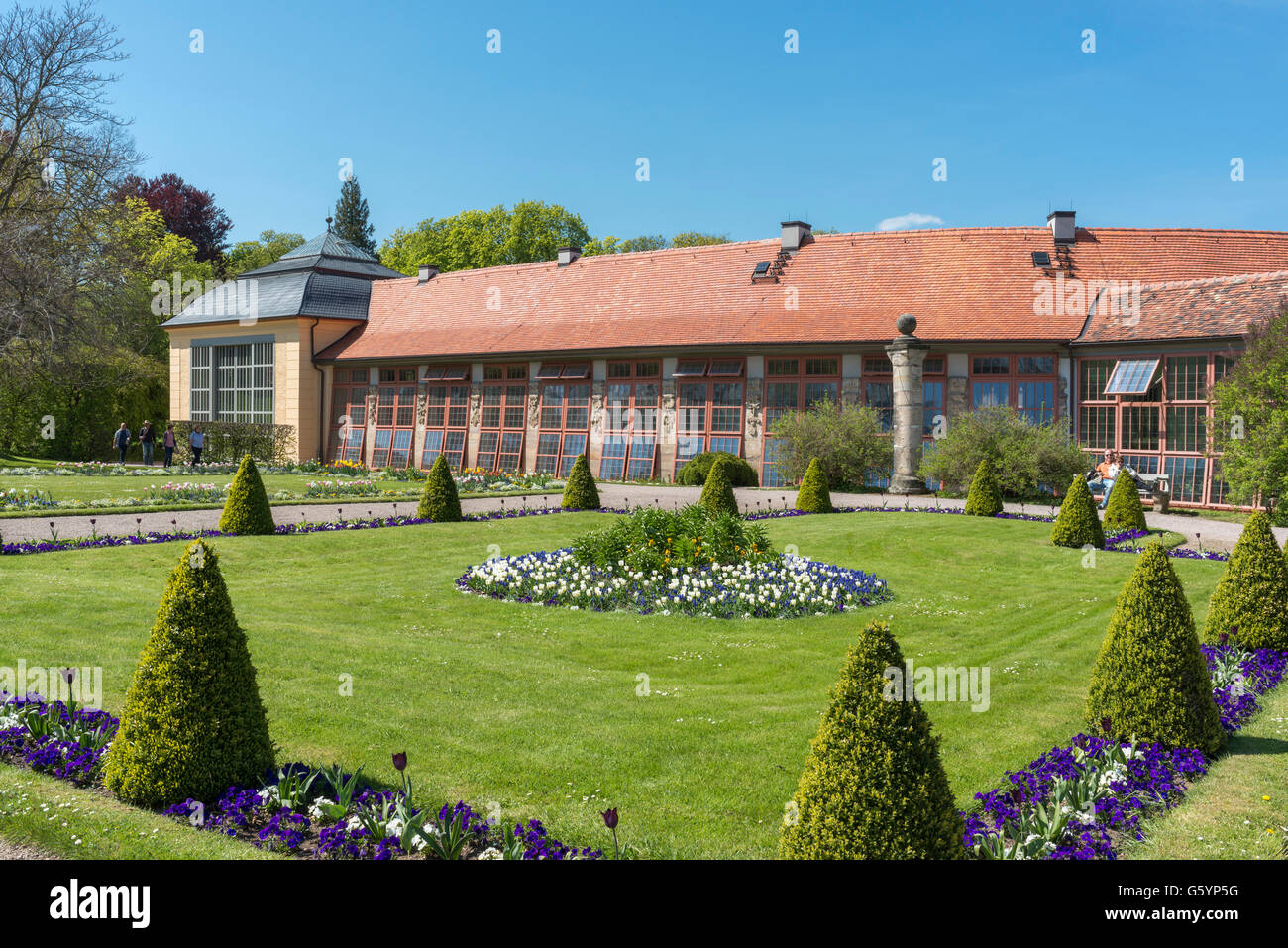 Orangery in palace gardens Belvedere, Weimar, Thuringia - Stock Image