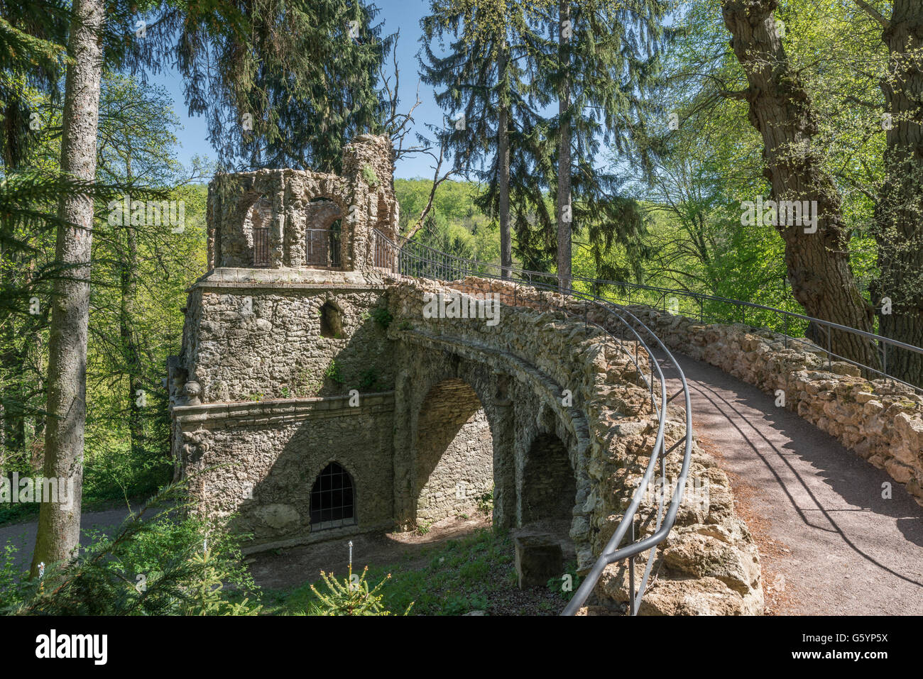 Artificial ruin, Palace Garden Belvedere, Weimar, Thuringia, Germany - Stock Image