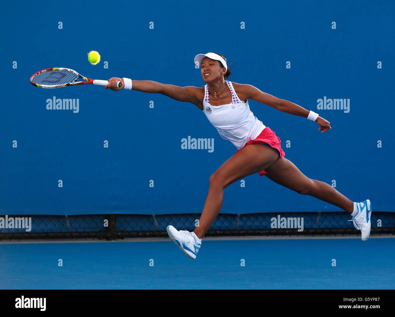 Anne Keothavong, GBR, Australian Open 2012, ITF Grand Slam Tennis Tournament, Melbourne Park, Melbourne, Victoria, Stock Photo