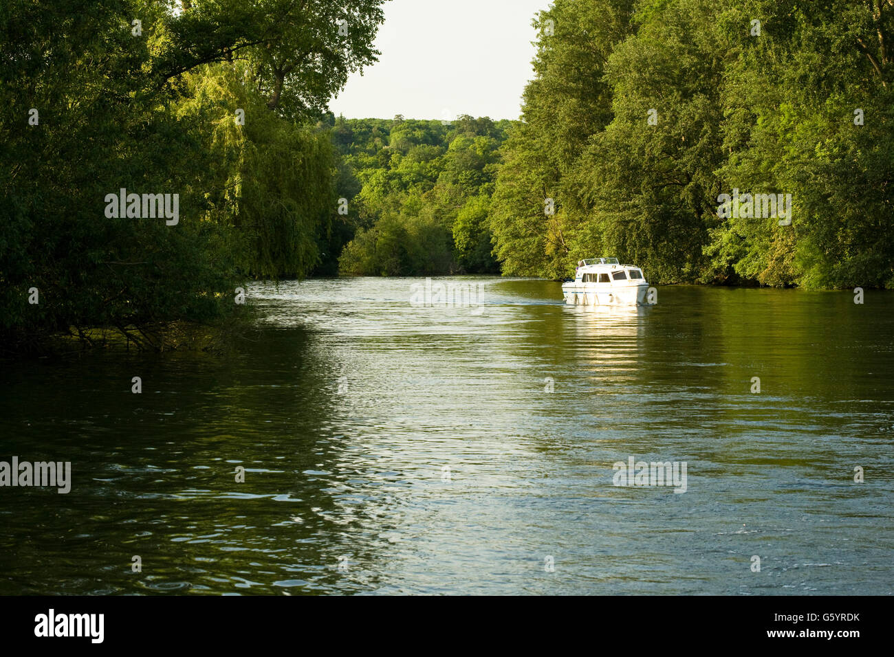 boating on the river Thames, Oxfordshire - Stock Image