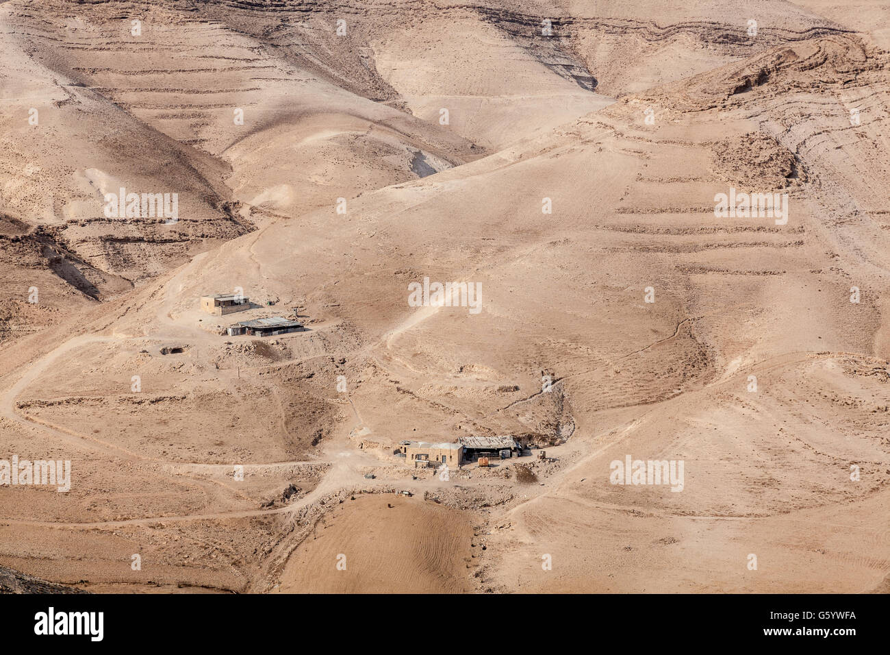 Judean desert east from Jerusalem and west from Dead Sea with Kidron Valley and Mar Saba Monastery in Palestine Stock Photo