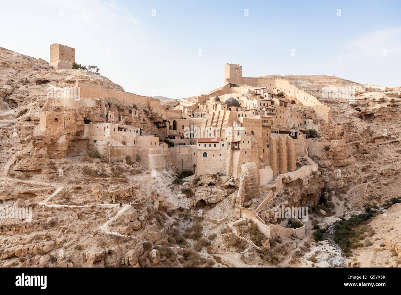Judean desert east from Jerusalem and west from Dead Sea with Kidron Valley and Mar Saba Monastery in Palestine - Stock Image