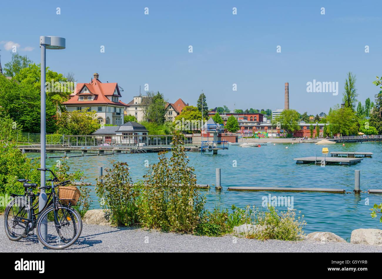 Strandbad Wollishofen on Zurichsee Stock Photo