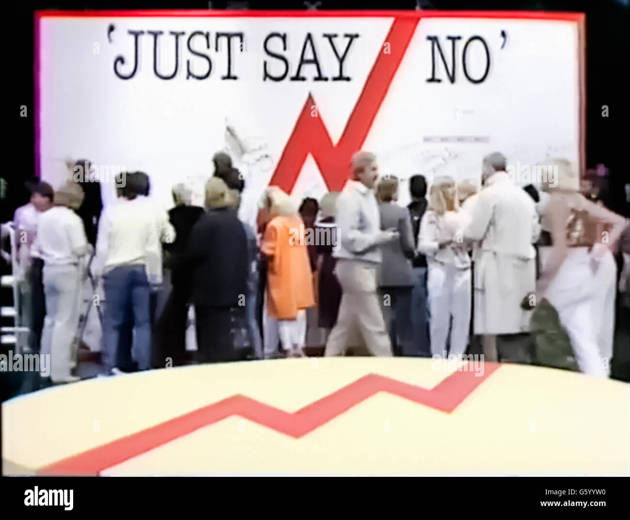"'Just Say No' wall signed by celebrities such as Princess Diana and Rolf Harris, still from the BBC's ""Drugwatch"" - Stock Image"