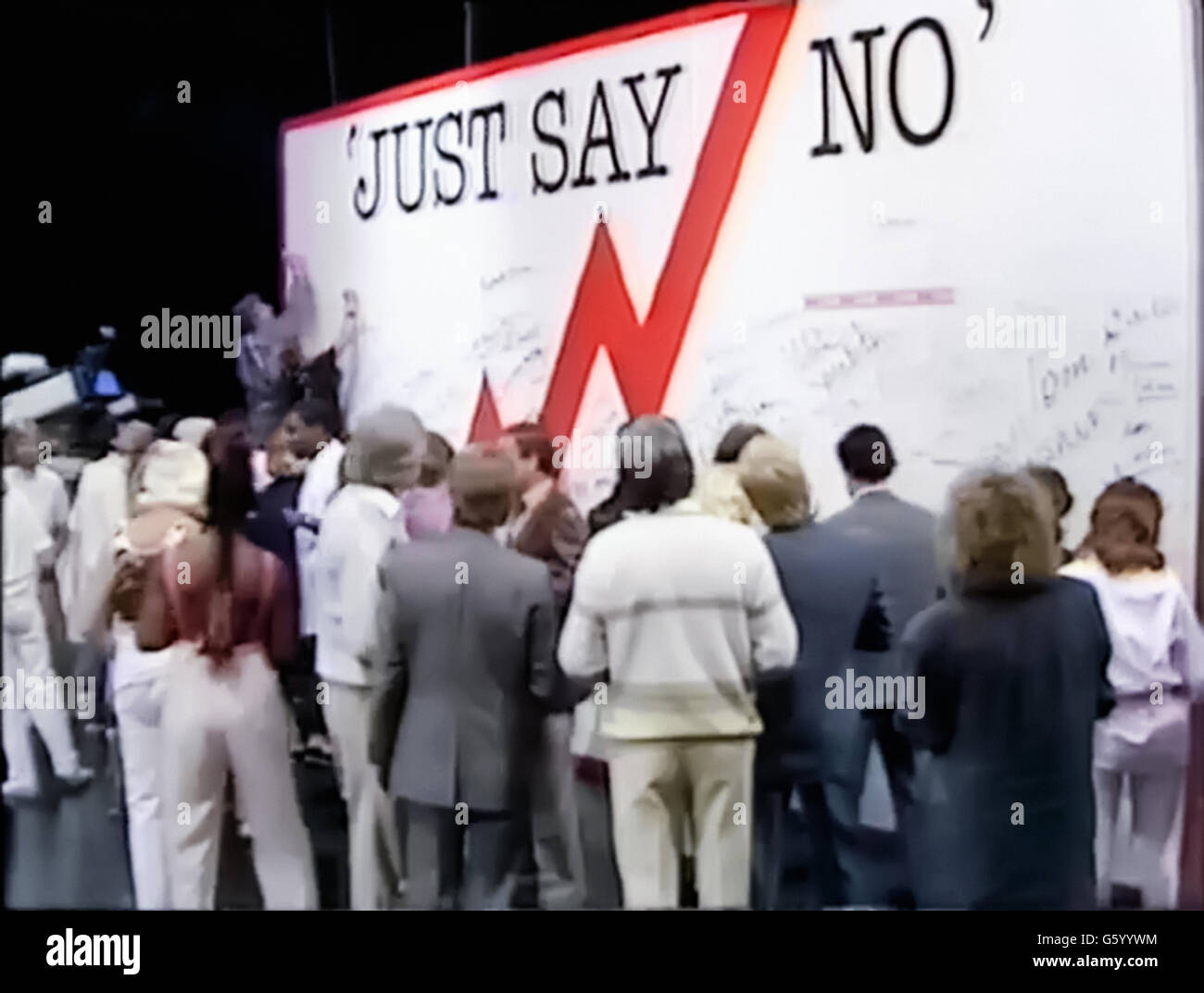 'Just Say No' wall signed by celebrities such as Princess Diana, Rolf Harris and Floella Benjamin. Still - Stock Image