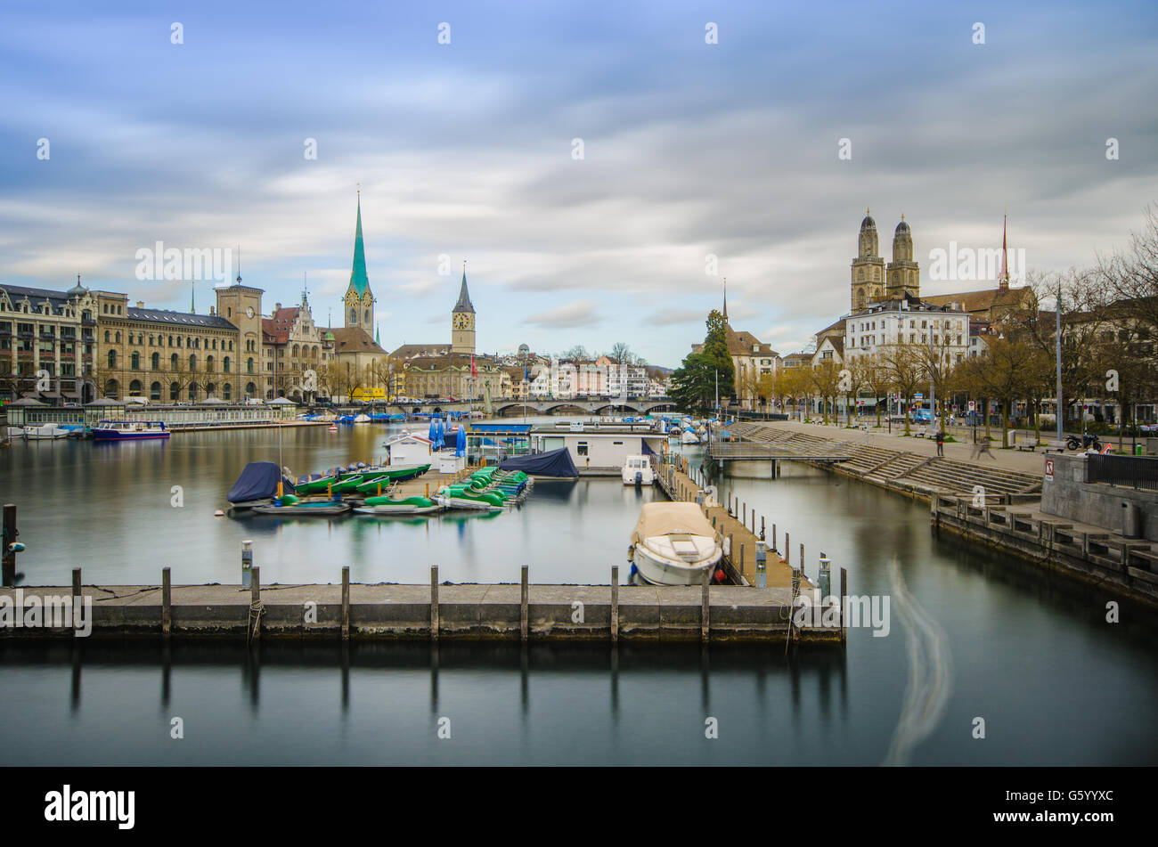 Looking into downtown Zurich along the Limmatquai - Stock Image