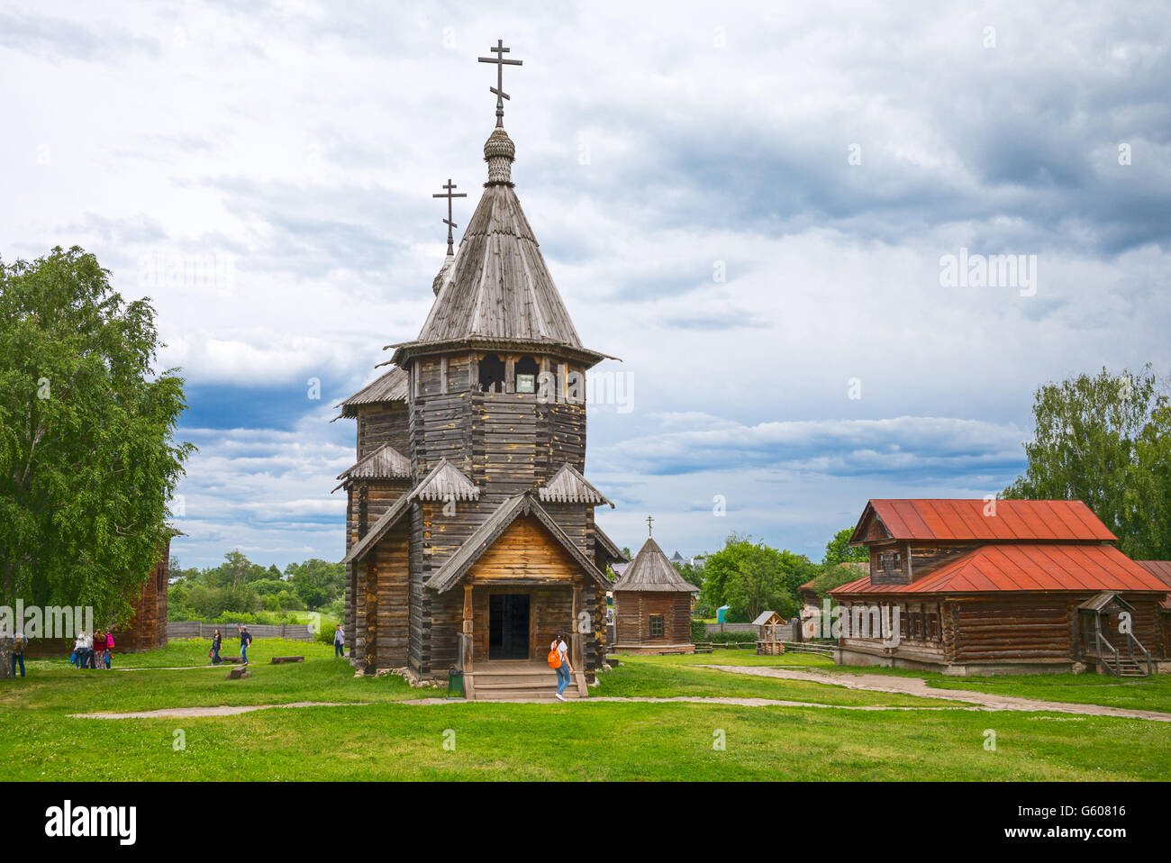 Russia, Suzdal, old wooden architectures - Stock Image