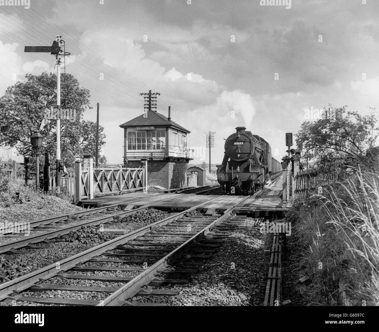The location is Whissendine  between Melton Mowbray and Oakham on the Leicester to Peterborough line. Stock Photo