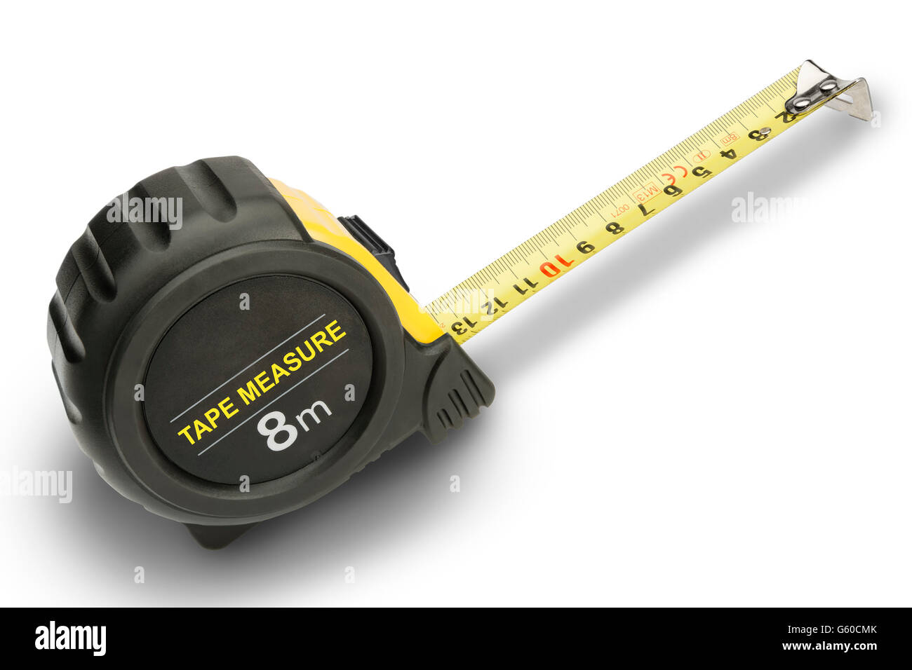Working construction tape measure in metric with no branding - Stock Image