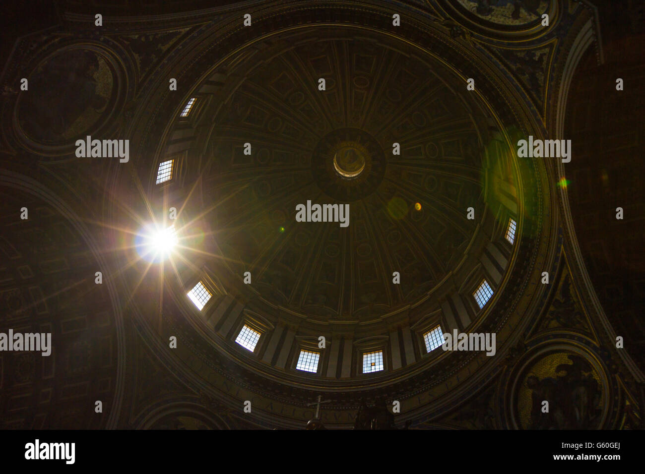 Dome in Saint Peters Basilica - Stock Image