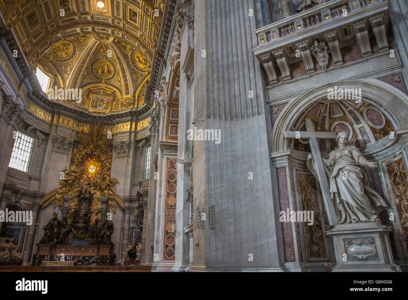 Inside Saint peters Basilican in Vatican city - Stock Image