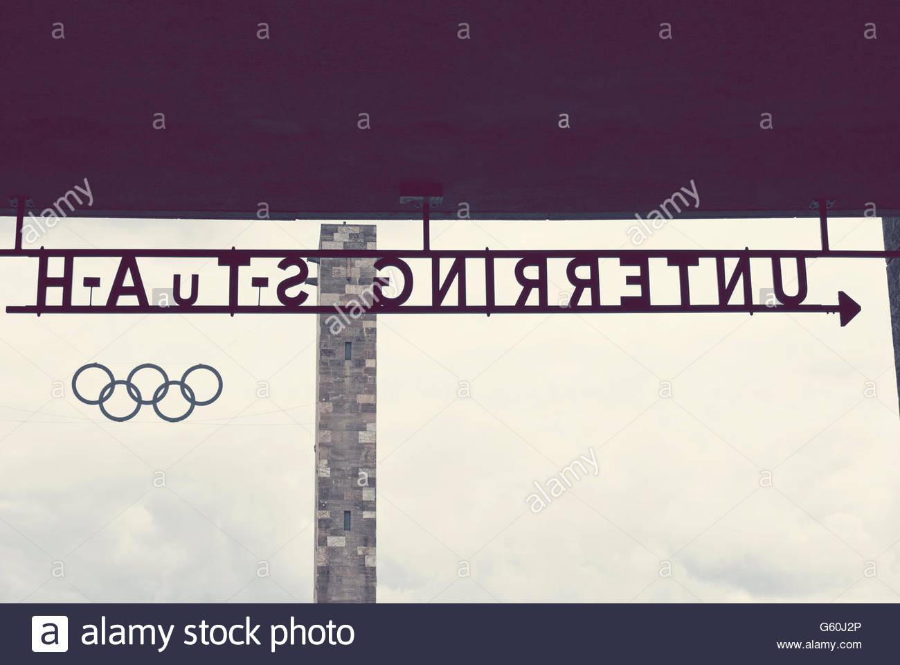 OLYMPIASTADION SIGNS - BERLIN - GERMANY - Stock Image